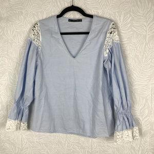 ZARA lace inset v neck blouse